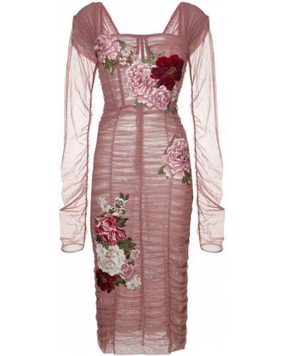 Платье с поясом розовое с открытой спиной Dolce & Gabbana
