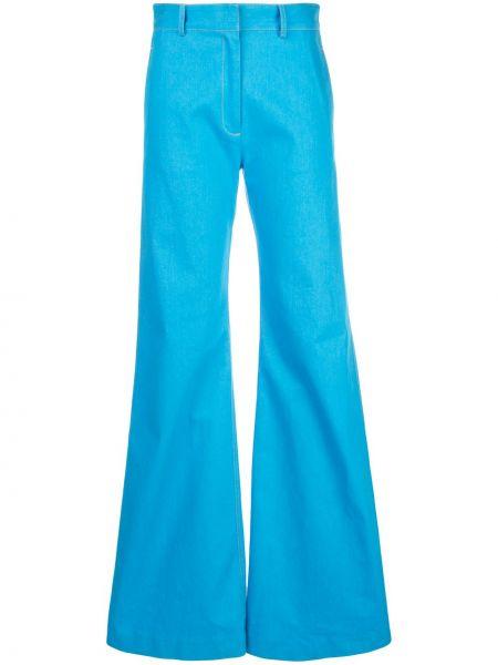 Синие расклешенные брюки с поясом с потайной застежкой Rosetta Getty