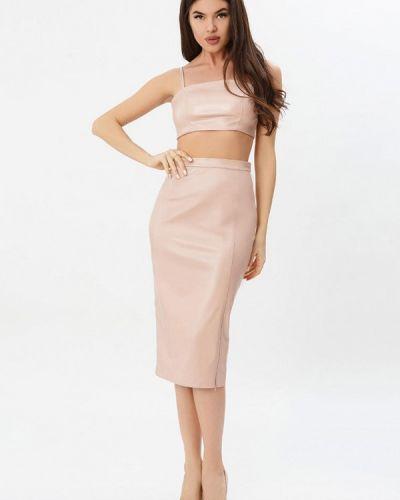 Юбочный костюм розовый Gepur