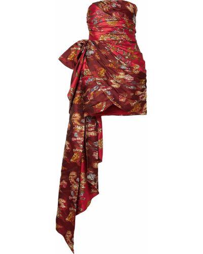 Оранжевое шелковое платье мини с драпировкой Oscar De La Renta