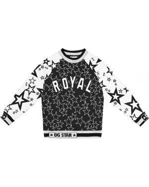 Czarny top bawełniany z haftem Dolce & Gabbana Kids