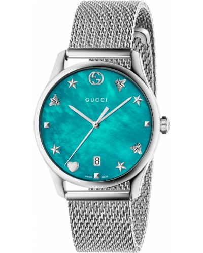 Голубые повседневные часы Gucci
