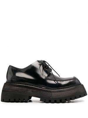 Ажурные кожаные черные пинетки на шнурках Marsèll