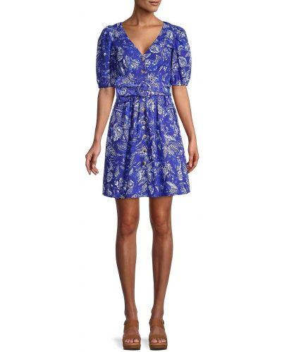 Свободное синее купальное платье с поясом French Connection