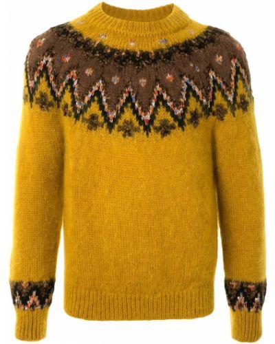 Прямой акриловый желтый вязаный джемпер в рубчик Coohem