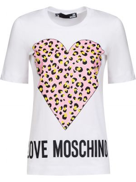 Хлопковая футбольная белая футболка Love Moschino