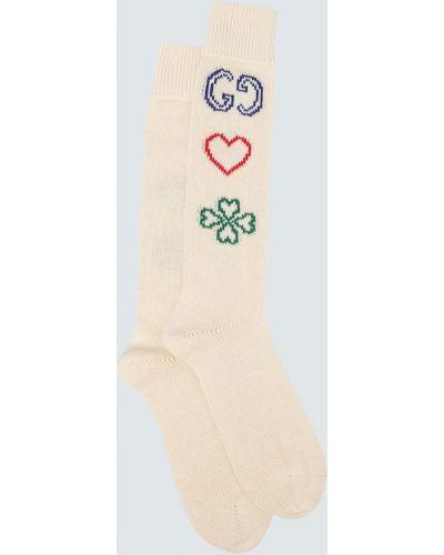 Beżowy bawełna bawełna skarpety z haftem Gucci