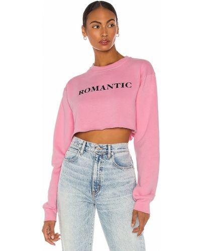 Różowa bluza bawełniana z printem Departure