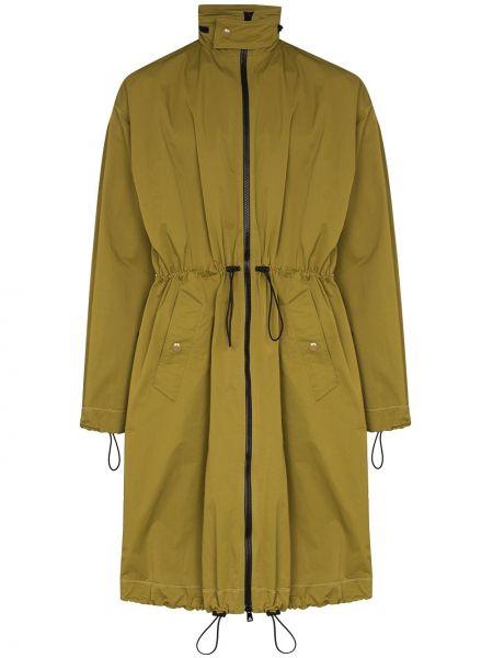 Zielony długi płaszcz z kapturem z nylonu Bottega Veneta