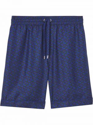 Niebieskie szorty z printem Burberry