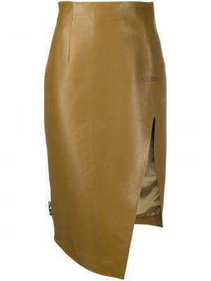 Асимметричная белая кожаная юбка мини Off-white