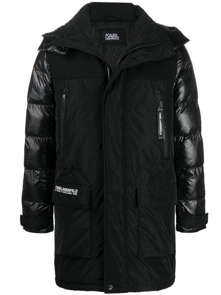 Czarny pikowana kurtka z długimi rękawami z ozdobnym wykończeniem z kapturem Karl Lagerfeld