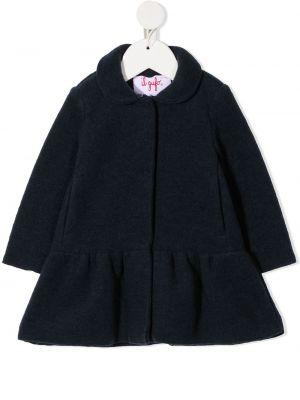 Синее шерстяное пальто классическое с воротником Il Gufo