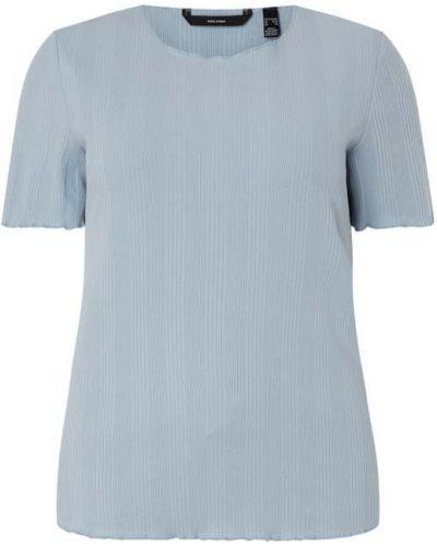 Prążkowany niebieski t-shirt bawełniany Vero Moda Curve