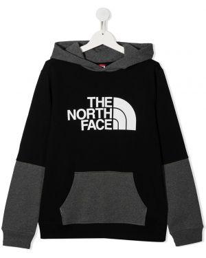Хлопковая с рукавами черная толстовка с капюшоном The North Face Kids