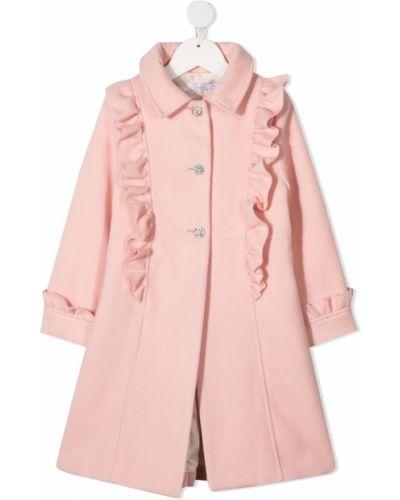 Розовое пальто классическое с воротником на пуговицах Patachou