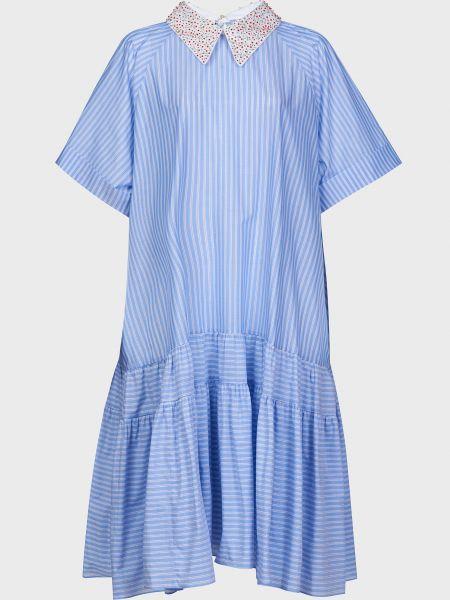 Хлопковое платье на пуговицах с бисером Rochas