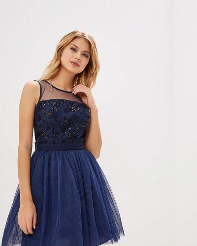 Вечернее платье осеннее синее Naf Naf