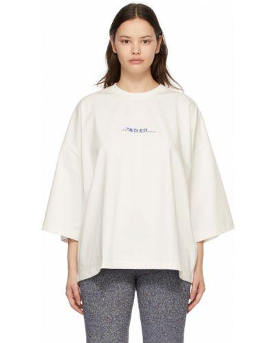 Biały t-shirt bawełniany krótki rękaw Ader Error