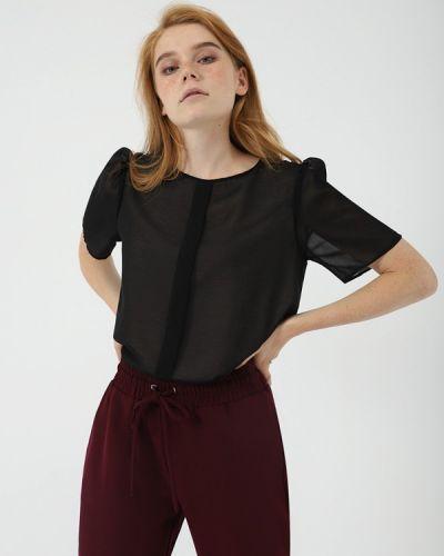 Блузка с коротким рукавом черная салатовый Lime
