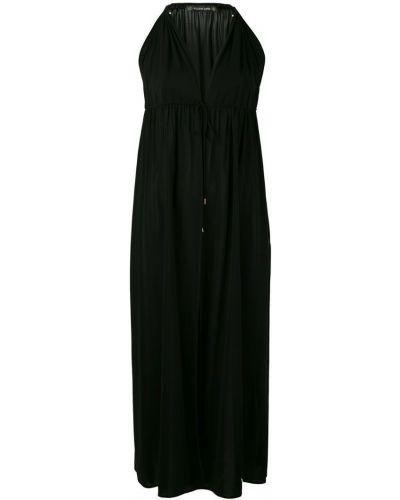 Расклешенное приталенное черное платье миди Plein Sud