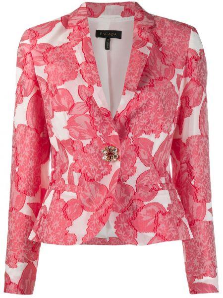 Шелковый приталенный белый удлиненный пиджак Escada