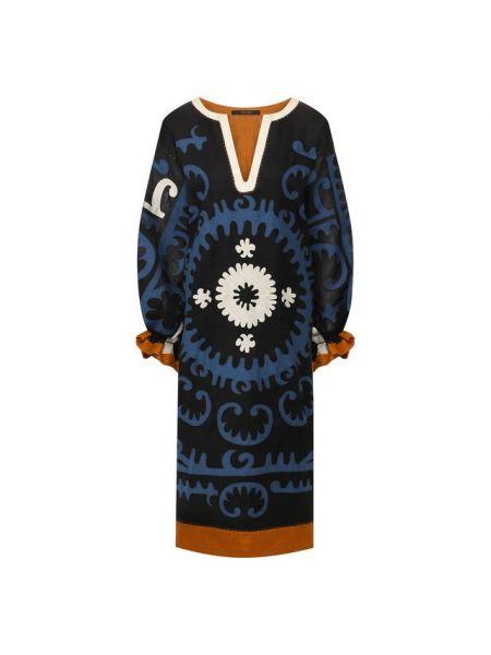 Синее льняное платье с подкладкой Vita Kin