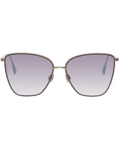 Солнцезащитные очки квадратные золотые металлические Dior
