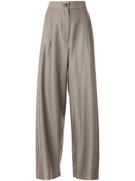 Коричневые свободные брюки с карманами свободного кроя на пуговицах Taylor