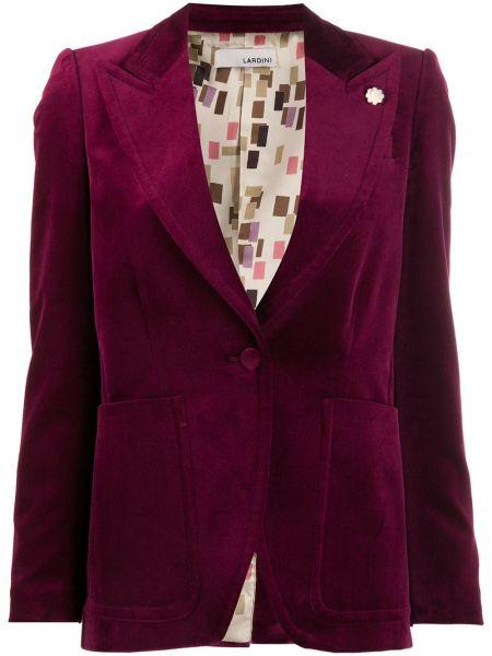 Приталенная красная длинная куртка на пуговицах с отворотом Lardini