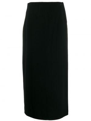 Хлопковая черная юбка на молнии Maison Martin Margiela Pre-owned