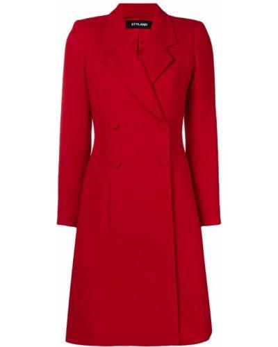 Расклешенное шерстяное длинное пальто с капюшоном Styland