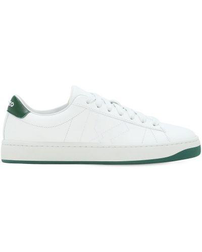 Белые кожаные кроссовки с перфорацией Kenzo