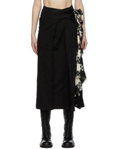 Плиссированная черная юбка из альпаки с подкладкой Yohji Yamamoto