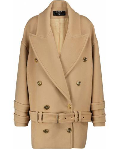 Коричневое кашемировое пальто Balmain