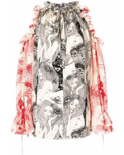 Блузка с открытыми плечами с манжетами с длинным рукавом Alexander Mcqueen