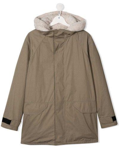 Кожаное длинное пальто с капюшоном на молнии Yves Salomon Enfant