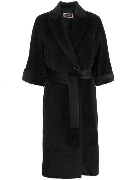 Черное пальто из альпаки двубортное Peserico