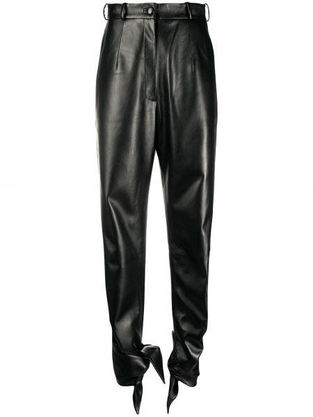 Spodnie z wysokim stanem z kieszeniami czarne Materiel