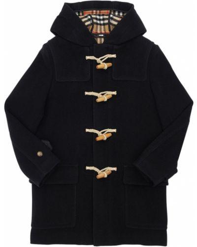 Czarny płaszcz wełniany z kapturem Burberry