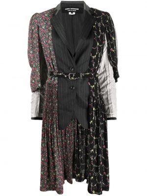 Шерстяное пальто со вставками с поясом на пуговицах Junya Watanabe