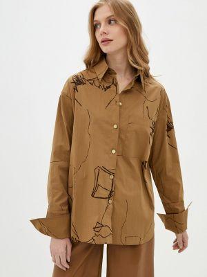 Коричневая рубашка с длинным рукавом Katya Erokhina