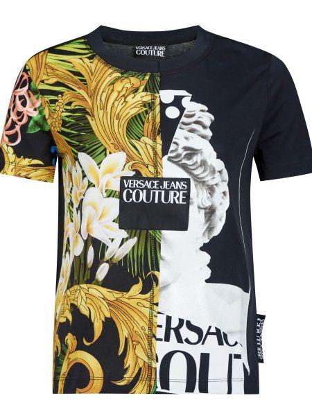 Хлопковая футбольная черная футболка Versace Jeans Couture