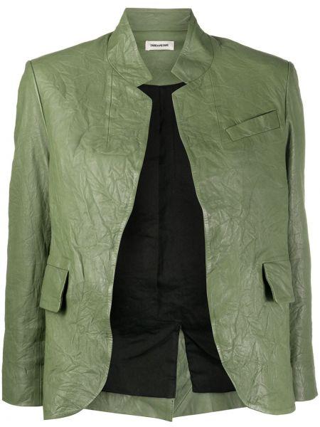 Зеленый кожаный короткая куртка с карманами Zadig&voltaire