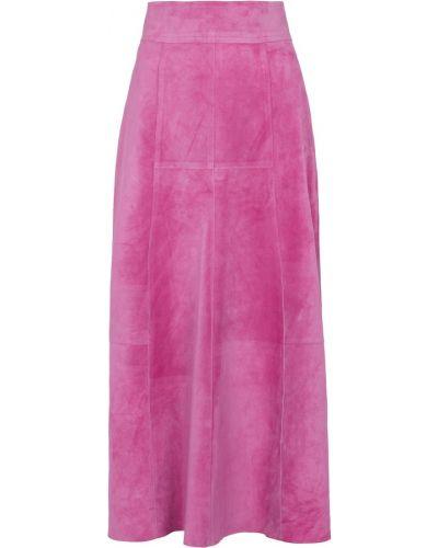 Кожаная юбка миди - розовая Isabel Marant