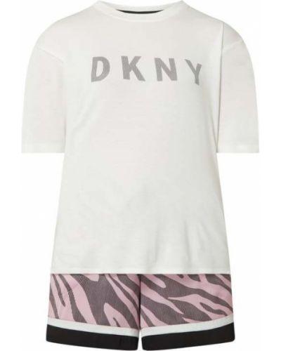 Różowa spodni piżama krótki rękaw z wiskozy Dkny