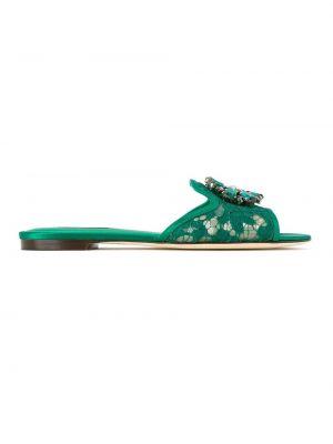 Zielone sandały sznurowane płaska podeszwa Dolce And Gabbana