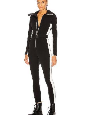 Кожаный черный костюм в полоску Cordova