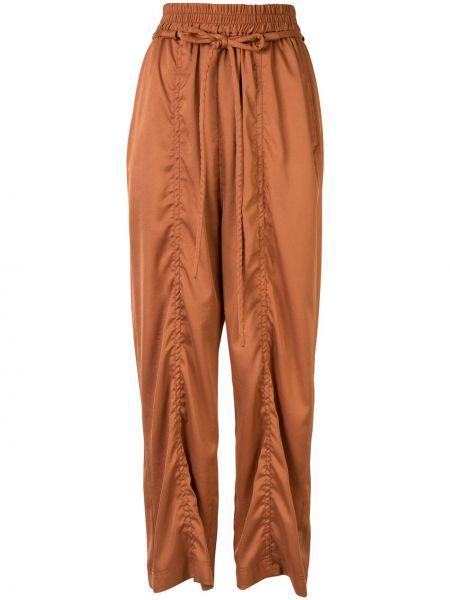 Коричневые свободные брюки с поясом свободного кроя с оборками G.v.g.v.