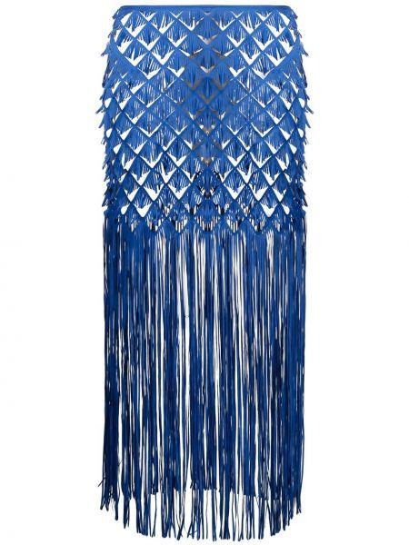 Синяя прямая юбка миди с бахромой Paskal